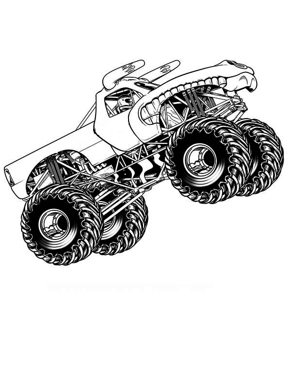 Monster Truck Flying Coloring Page - Download & Print ...