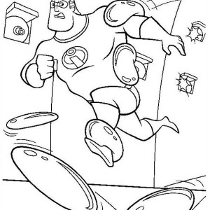 Mr Incredibles Being Shot With Sticky Bullet In The Incredibles Coloring Page
