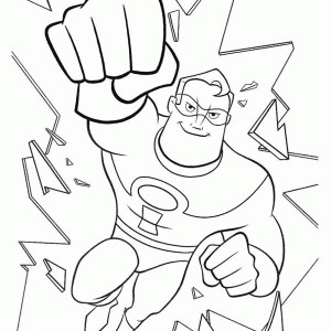 Mr Incredibles Destroying Glass In The Incredibles Coloring Page