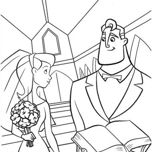 Mr Incredibles Marrying Elastigirl In The Incredibles Coloring Page
