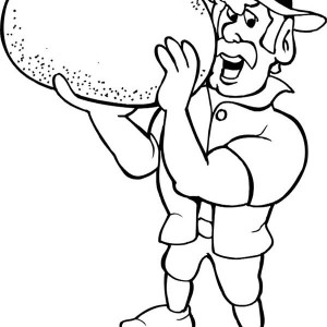Muscular Leprechaun Holding A Pot Of Gold Coloring Page