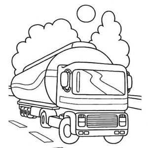 Oil Container Semi Truck On The Road Coloring Page