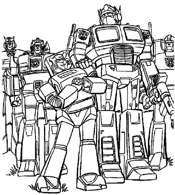 Optimus Prime And Autobots In Transformers Coloring Page Download Print Online Coloring Pages For Free Color Nimbus