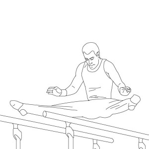 Parallel Bars Artistic In Gymnastic Coloring Page