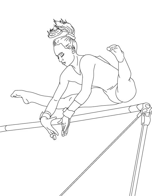 Perfect Score Of High Bar In Gymnastic Coloring Page Download