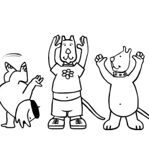 Pets Doing Gymnastic Move Coloring Page