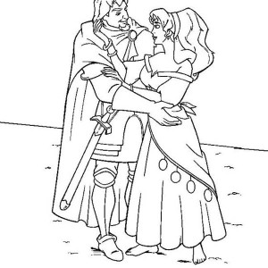 Phoebus And Esmeralda From The Hunchback Of Notre Dame Coloring Page