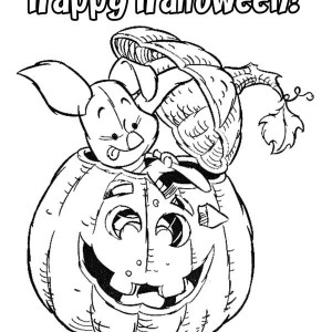 Piglet Carving Pumpkins Coloring Page