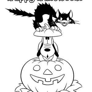 Pluto And Cat In Halloween Pumpkins Colouring Page Coloring Page