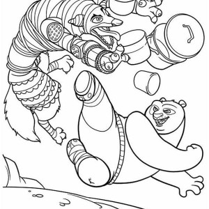 Po Amazing Kick In Kung Fu Panda Coloring Page