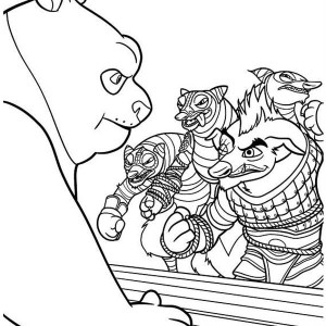 Po Being Attacked Kung Fu Panda Coloring Page