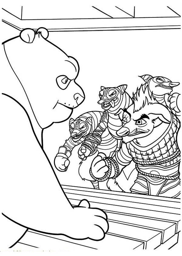Po Being Attacked Kung Fu Panda Coloring Page - Download & Print