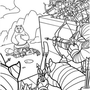 Po Surrounded By Enemy In Kung Fu Panda Coloring Page