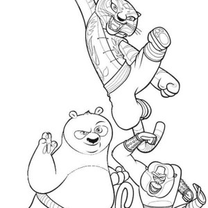 Po And Tigress And Monkey From Kung Fu Panda Coloring Page
