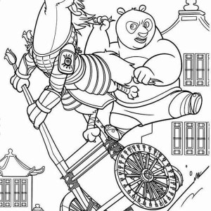 Po On Cart Chasing Enemy In Kung Fu Panda Coloring Page