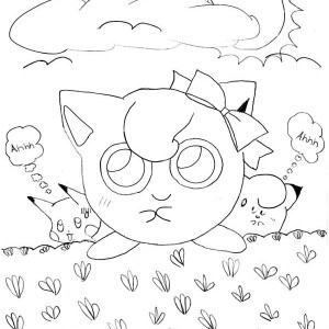 Pokemon Jigglypuff Stepping On Grass Coloring Page