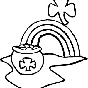 Pot Of Gold And Shamrock Are Irish Symbol Coloring Page