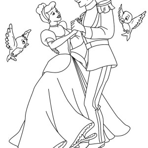 Prince Charming And Cinderella Dance Wiht Two Little Birds In Cinderella Coloring Page