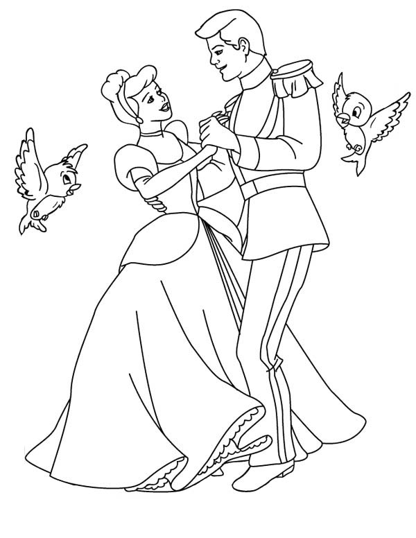 Prince Charming And Cinderella Dance Wiht Two Little Birds In