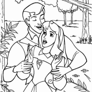 Princess Aurora And Prince Phillip Sing Together Coloring Page