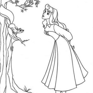 Princess Aurora And A Bird And A Squirrel Coloring Page