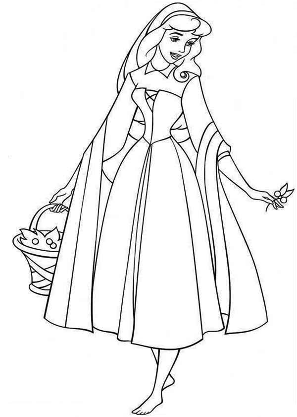 Princess Aurora Is Going To Picnic With Prince Phillip Coloring Page