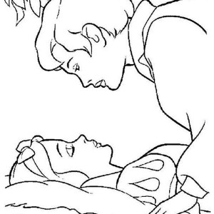 Princess Aurora Is Going To Be Kissed By Prince Phillip Coloring Page