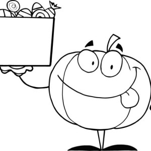 Pumpkins And Box Of Candy Coloring Page