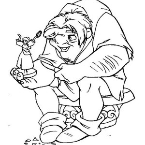 Quasimodo Hold Little Figure Of Esmeralda In The Hunchback Of Notre Dame Coloring Page