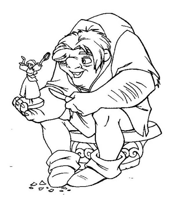 Quasimodo Hold Little Figure Of Esmeralda In The Hunchback ...