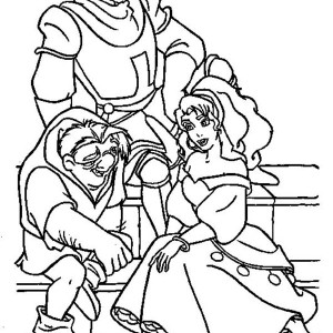 Quasimodo And Esmeralda And Phoebus Hang Out Together In The Hunchback Of Notre Dame Coloring Page