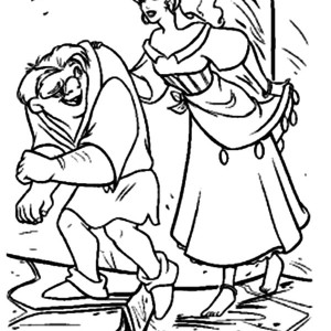 Quasimodo And Esmeralda In The Hunchback Of Notre Dame Coloring Page