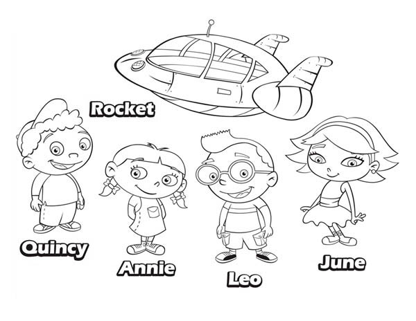 Quincy Leo Annie June And Rocket In Little Einsteins Coloring Page ...