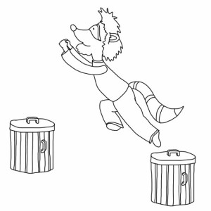Raccoon Jump From Trash Can Coloring Page