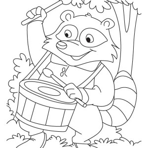 Raccoon Playing Drum Coloring Page