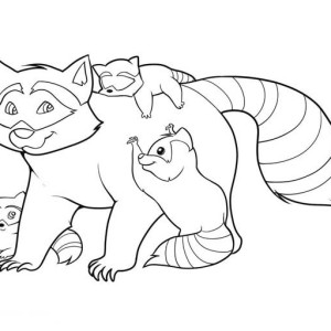 Raccoon And Her Childrens Coloring Page