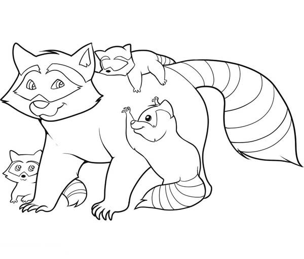 Raccoon And Her Childrens Coloring Page - Download & Print ...