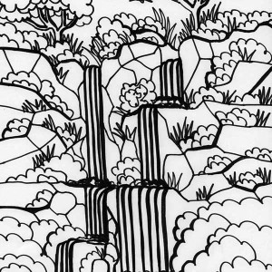 Rainforest And Waterfalls Coloring Page