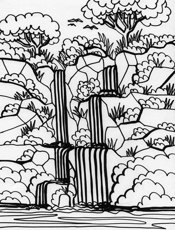 Rainforest And Waterfalls Coloring Page - Download & Print ...