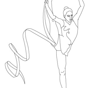 Ribbon Individual All Around Rhythmic In Gymnastic Coloring Page