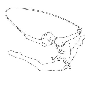 Rope Individual All Around Rhythmic In Gymnastic Coloring Page