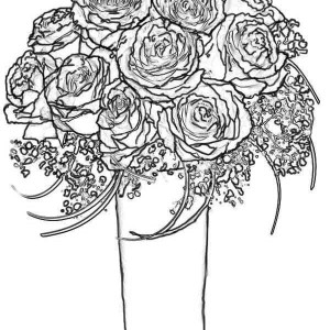 Rose Bouquet For Wife Coloring Page