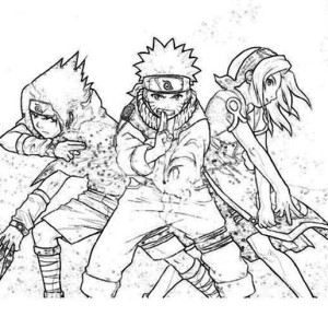 Sasuke Naruto And Sakura In Naruto Coloring Page