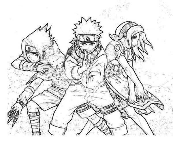 Sasuke Naruto And Sakura In Naruto Coloring Page Download Print
