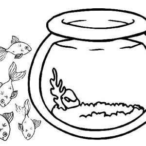 School Of Fish Outside Fish Bowl Coloring Page