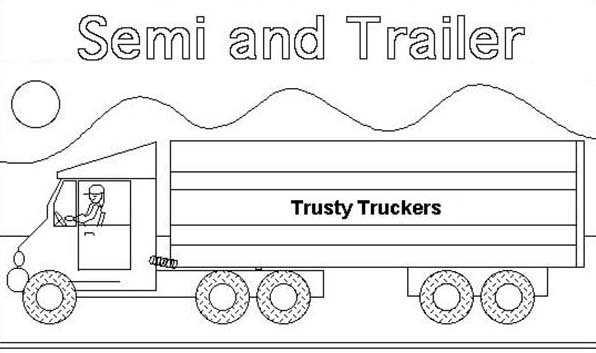Semi Truck And Trailer Coloring Page - Download & Print Online ...