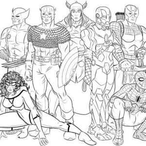 Seven Hero Of The Avengers Coloring Page