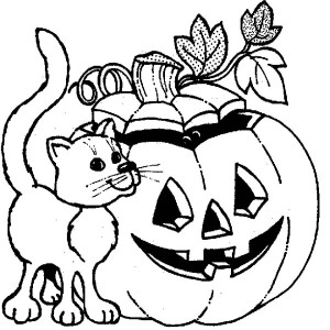 Smiling Halloween Pumpkins And A Cat Coloring Page