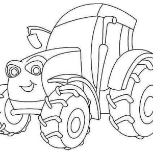Smiling Tractor Coloring Page
