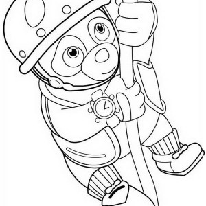 Special Agent Oso Hanging On Rope Coloring Page